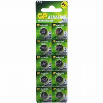 GP A76 LR44 1.5V Alkaline Batteries (10 Pack)